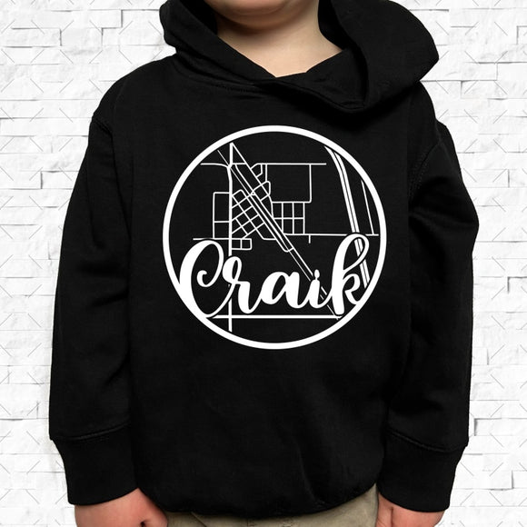 toddler-sized black hoodie with Craik hometown map design