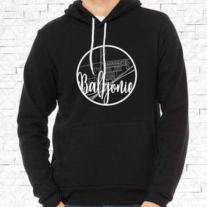 adult-sized black hoodie with white Balgonie hometown map design