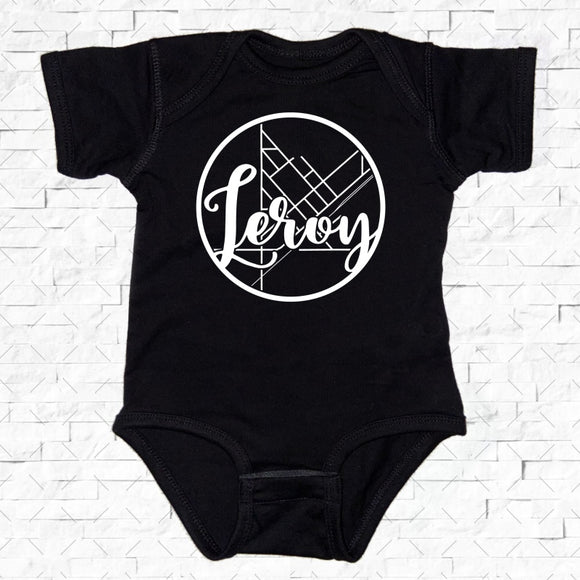 baby-sized black short-sleeved onesie with Leroy hometown map design