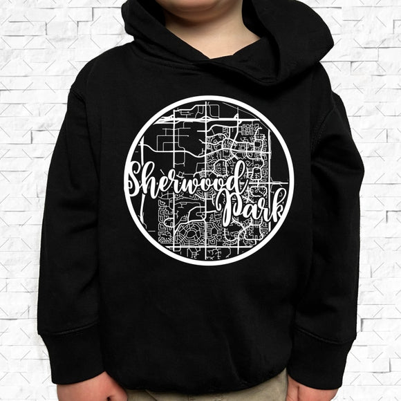 toddler-sized black hoodie with Sherwood Park hometown map design