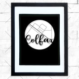 Close-up of Colfax hometown map design in black shadowbox frame with white matte