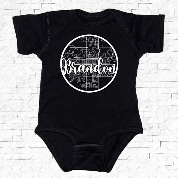 baby-sized black short-sleeved onesie with Brandon hometown map design
