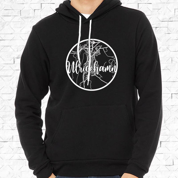 adult-sized black hoodie with white Ulricehamn hometown map design