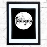 Close-up of Lanigan hometown map design in black shadowbox frame with white matte