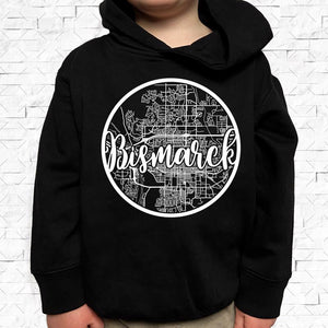 toddler-sized black hoodie with Bismarck hometown map design
