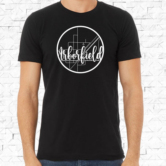 adult-sized black short-sleeved shirt with white Arborfield hometown map design