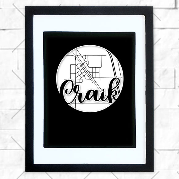 Close-up of Craik hometown map design in black shadowbox frame with white matte