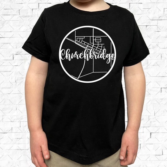 toddler-sized black short-sleeved shirt with white Churchbridge hometown map design
