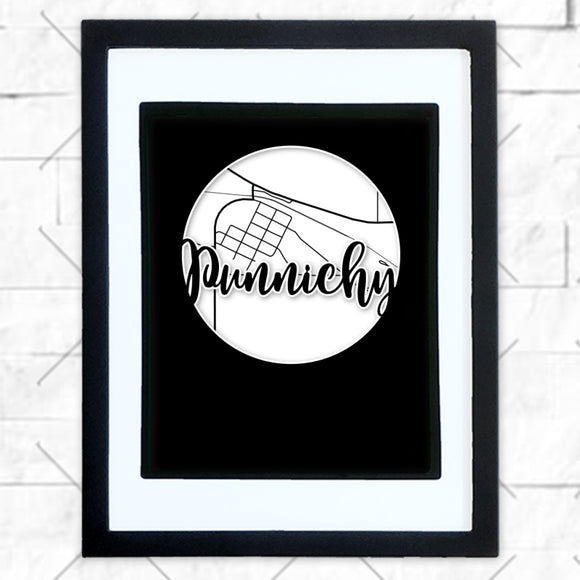 Close-up of Punnichy hometown map design in black shadowbox frame with white matte