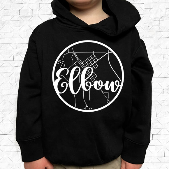 toddler-sized black hoodie with Elbow hometown map design
