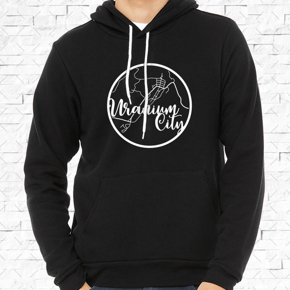 adult-sized black hoodie with white Uranium City hometown map design
