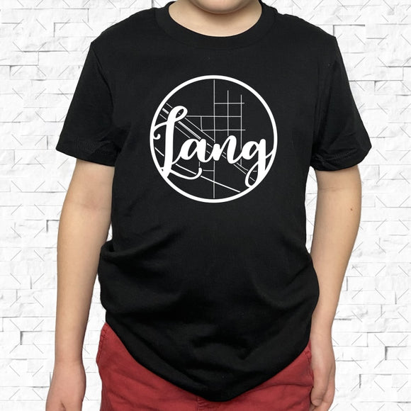 youth-sized black short-sleeved shirt with white Lang hometown map design