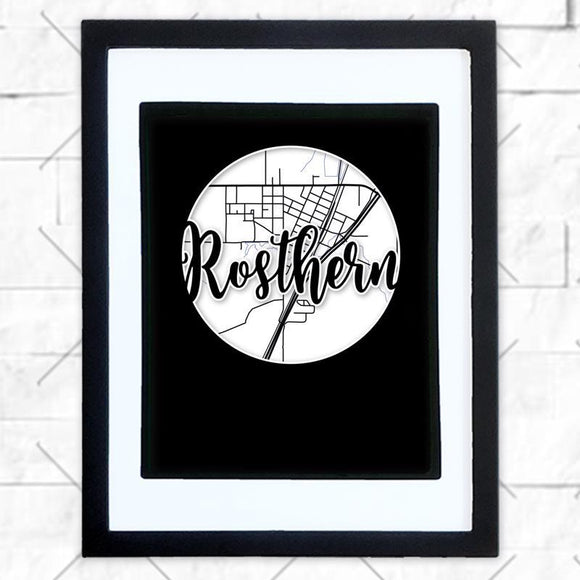 Close-up of Rosthern hometown map design in black shadowbox frame with white matte