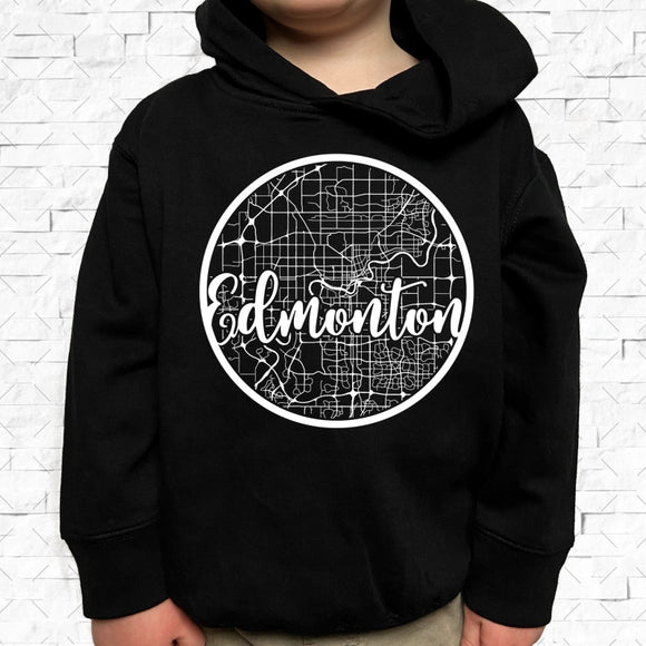 toddler-sized black hoodie with Edmonton hometown map design