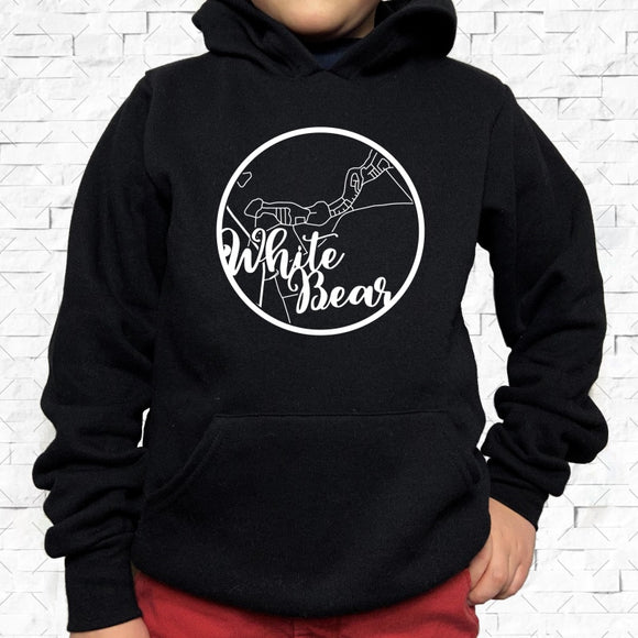 youth-sized black hoodie with white White Bear hometown map design