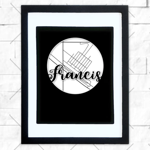 Close-up of Francis hometown map design in black shadowbox frame with white matte