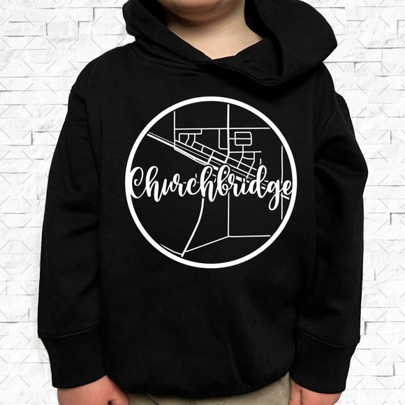 toddler-sized black hoodie with Churchbridge hometown map design