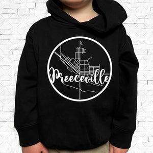 toddler-sized black hoodie with Preeceville hometown map design