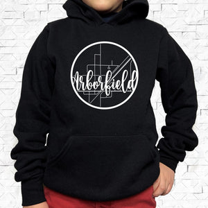 youth-sized black hoodie with white Arborfield hometown map design