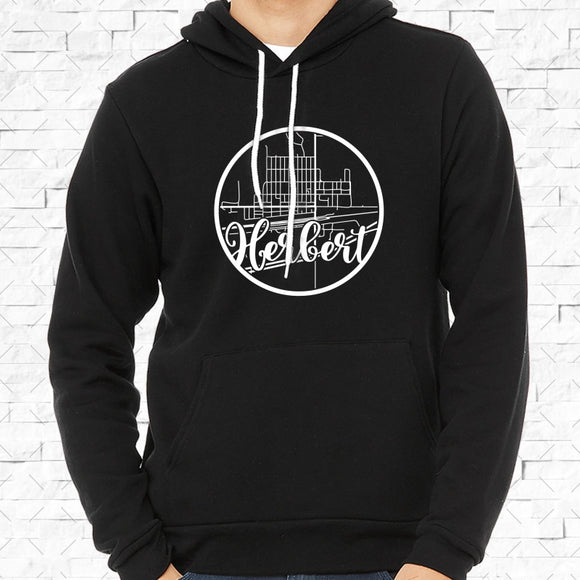 adult-sized black hoodie with white Herbert hometown map design