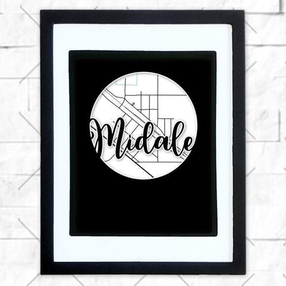 Close-up of Midale hometown map design in black shadowbox frame with white matte