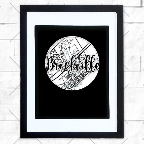 Close-up of Brockville hometown map design in black shadowbox frame with white matte