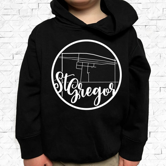 toddler-sized black hoodie with St Gregor hometown map design