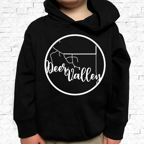 toddler-sized black hoodie with Deer Valley hometown map design