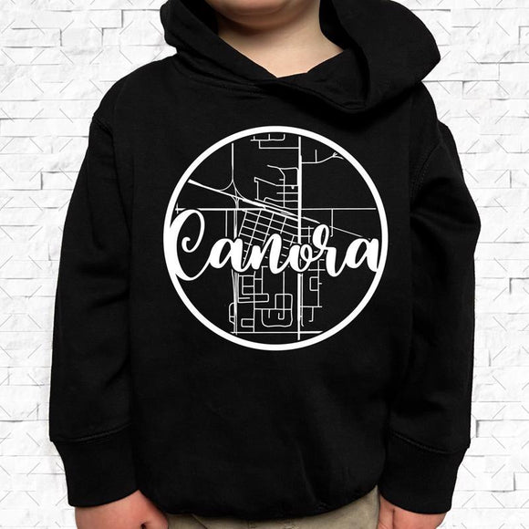 toddler-sized black hoodie with Canora hometown map design