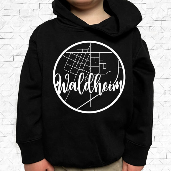 toddler-sized black hoodie with Waldheim hometown map design