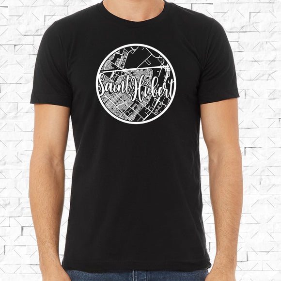 adult-sized black short-sleeved shirt with white Saint Hubert hometown map design