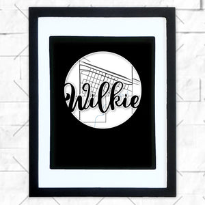 Close-up of Wilkie hometown map design in black shadowbox frame with white matte