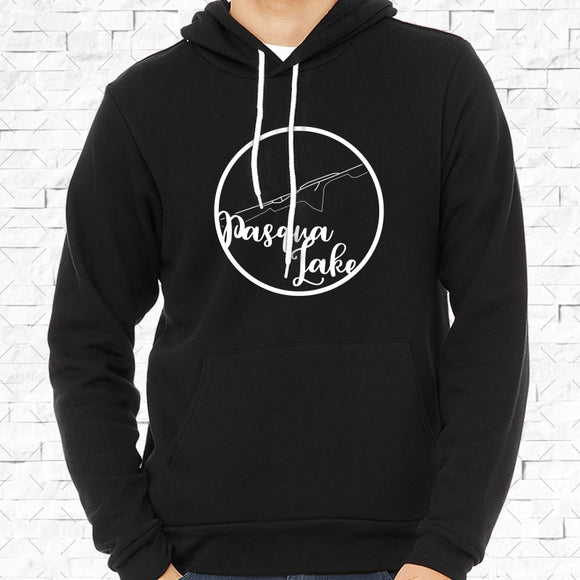 adult-sized black hoodie with white Pasqua Lake hometown map design