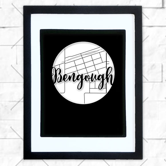 Close-up of Bengough hometown map design in black shadowbox frame with white matte