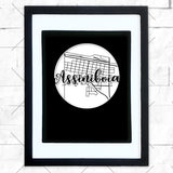 Close-up of Assiniboia hometown map design in black shadowbox frame with white matte