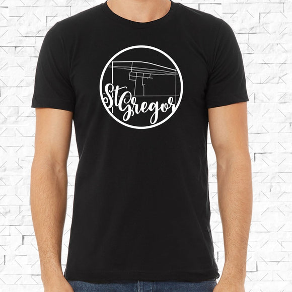 adult-sized black short-sleeved shirt with white St Gregor hometown map design