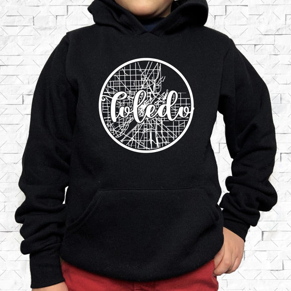 youth-sized black hoodie with white Toledo hometown map design