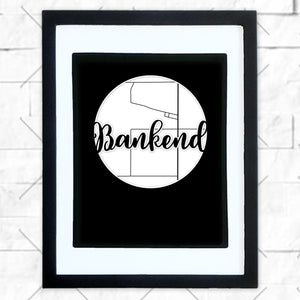 Close-up of Bankend hometown map design in black shadowbox frame with white matte