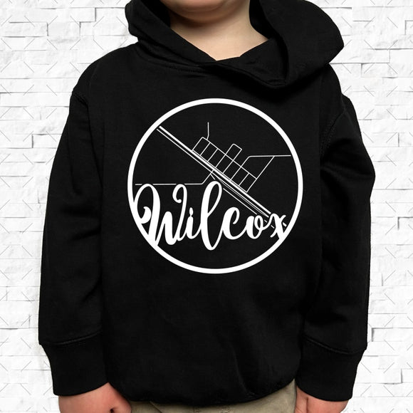 toddler-sized black hoodie with Wilcox hometown map design