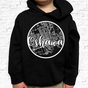 toddler-sized black hoodie with Oshawa hometown map design