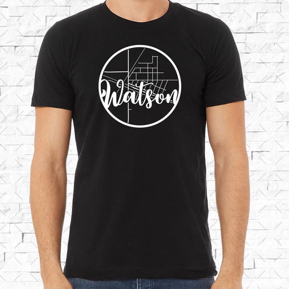 adult-sized black short-sleeved shirt with white Watson hometown map design