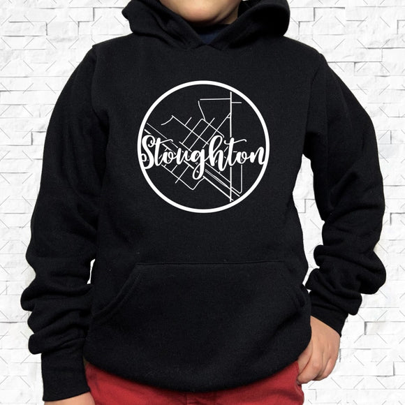 youth-sized black hoodie with white Stoughton hometown map design