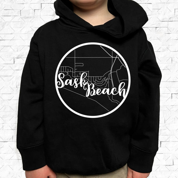 toddler-sized black hoodie with Sask Beach hometown map design