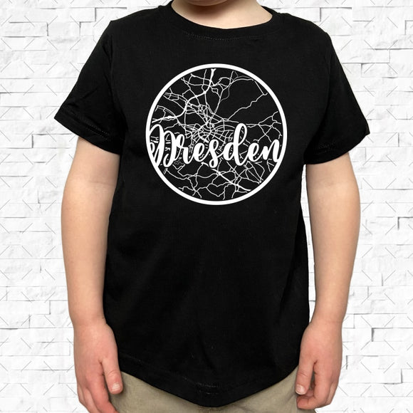 toddler-sized black short-sleeved shirt with white Dresden hometown map design