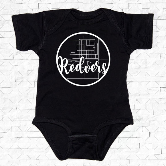 baby-sized black short-sleeved onesie with Redvers hometown map design