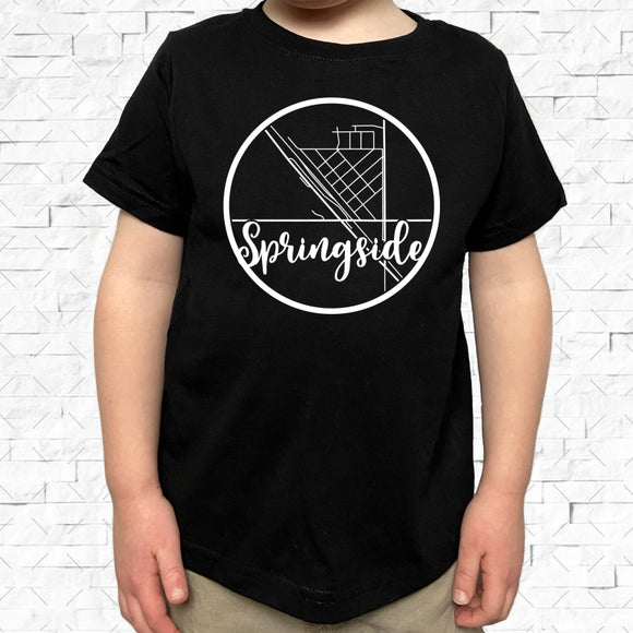 toddler-sized black short-sleeved shirt with white Springside hometown map design