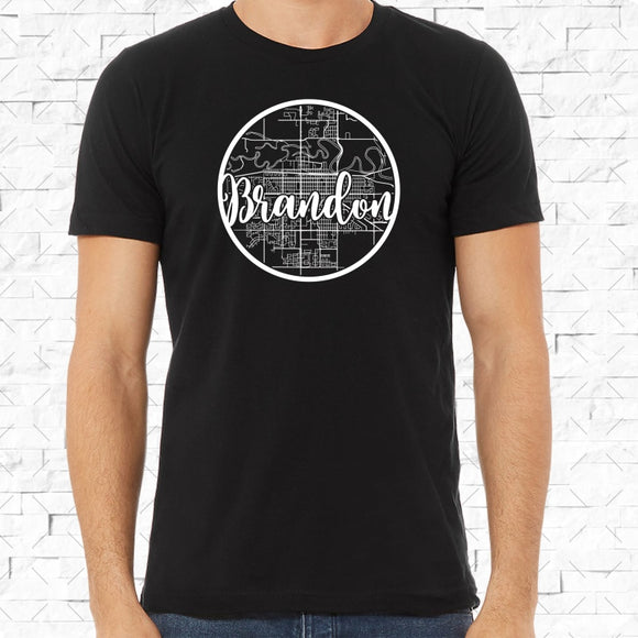 adult-sized black short-sleeved shirt with white Brandon hometown map design