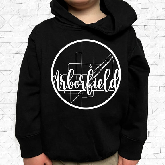 toddler-sized black hoodie with Arborfield hometown map design