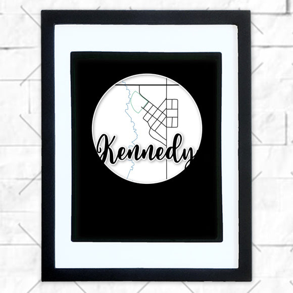 Close-up of Kennedy hometown map design in black shadowbox frame with white matte