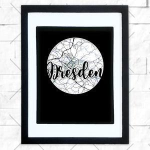 Close-up of Dresden hometown map design in black shadowbox frame with white matte
